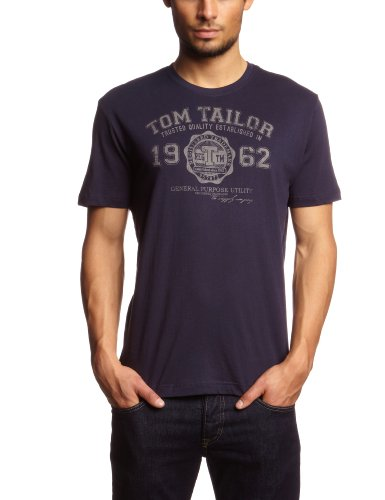 new products 84ffb 45e26 TOM TAILOR Herren T-Shirt logo tee, Gr. Large, Blau (navy 6000)