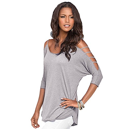 butterme damen sommer ausschnitt b gel schulterfrei t shirt bluse tunika top grau m outlet. Black Bedroom Furniture Sets. Home Design Ideas